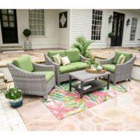 Leisure Made Marietta 4-Piece Outdoor Wicker Conversation Set in Green/Grey