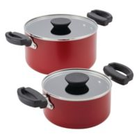 Farberware® Neat Nest™ Nonstick Aluminum 4-Piece Covered Sauce Pot Set in Red