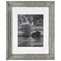 Rustic Impressions 8-Inch x 10-Inch Matted Wood Photo Frame in Aged Silver