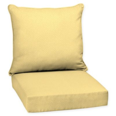 Good Selections By Arden Shirt Texture Deep Seat Outdoor Chair Cushion In Yellow