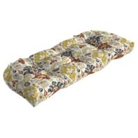 Arden Selections™ Kenda Ikat Outdoor Wicker Settee Cushion in Cream/Topaz
