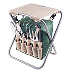 Pure Garden Folding Stool Garden with 5-Piece Tool Set in Beige/Green