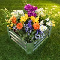 Pure Garden 23.5-Inch Square Raised Garden Bed Plant Holder Kit in Silver