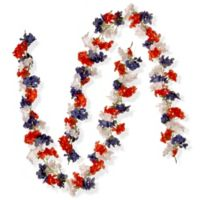 National Tree Company 2-Pack 6-Foot Patriotic Hydrangea Garland in Red/White/Blue
