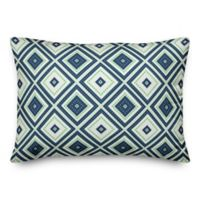 Designs Direct Diamonds Oblong Outdoor Throw Pillow in Navy/Green