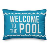"Designs Direct ""Welcome to the Pool"" Oblong Outdoor Throw Pillow in Blue/White"