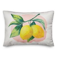 Designs Direct Summer Lemons Oblong Outdoor Throw Pillow in Yellow/White