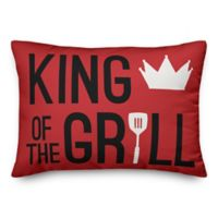 """Designs Direct """"King of the Grill"""" Oblong Outdoor Throw Pillow in Red"""