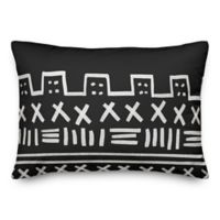 Designs Direct Tribal Oblong Outdoor Throw Pillow in Black/White