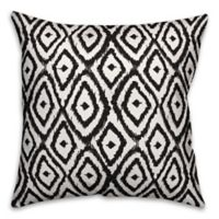 Designs Direct Ikat Diamonds Square Outdoor Throw Pillow in Black/White