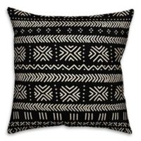 Designs Direct Mudcloth Square Outdoor Throw Pillow in Black