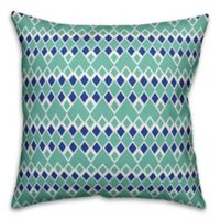 Designs Direct Tribal Diamond Indoor/Outdoor Square Throw Pillow in Teal/White