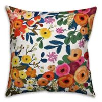 Designs Direct Painted Floral Indoor/Outdoor Square Throw PIllow in Orange