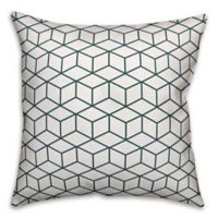 Designs Direct Cube Indoor/Outdoor Square Throw Pillow in Blue/White