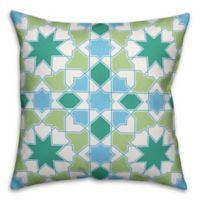Designs Direct Havana Mosaic Indoor/Outdoor Square Throw Pillow in Teal/Green