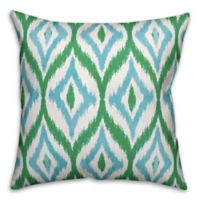 Designs Direct Summer Ikat Indoor/Outdoor Square Throw Pillow in Teal/Green