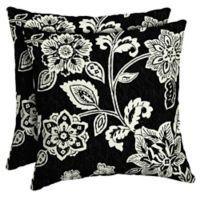 Arden Selections Ashland Jacobean Outdoor Square Throw Pillows in Black (Set of 2)