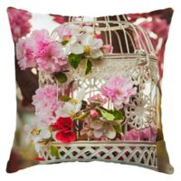 Arden Selections Floral Birdcage Square Outdoor Throw Pillow in Cream