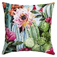 Arden Selections Blooming Cactus Square Outdoor Throw Pillow in Pink
