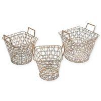 Madison Park 3-Piece Havana Baskets in Gold