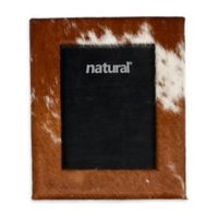 Natural Rugs 5-Inch x 7-Inch Durango Cowhide Picture Frame in Brown/White