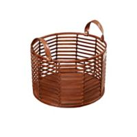 Madison Park Signature Newport Small Leather Strip Basket in Brown