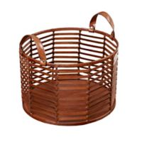 Madison Park Signature Newport Medium Leather Strip Basket in Brown