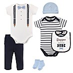 Little Treasures Dapper Bow Tie Size 0-3M 6-Piece Layette Set in Blue