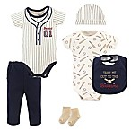 Little Treasures Size 3-6M 6-Piece Baseball Layette Set in Beige