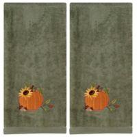 Harvest Pumpkin Embroidered Hand Towels in Sage (Set of 2)