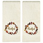 Thankful Wreath Embroidered Hand Towels in Natural (Set of 2)