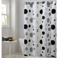 Hookless® Retro Dots Shower Curtain in Black/Grey