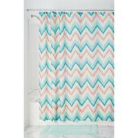 InterDesign® Ikat Chevron Shower Curtain in Coral/Teal