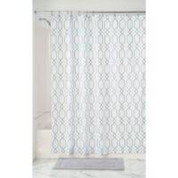 InterDesign® Lattice Fabric Shower Curtain in Mint/Grey