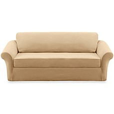 Sure Fit® Stretch Sterling Cream 3-Piece Sofa Slipcover