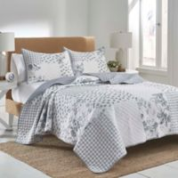 Clarissa Patchwork Reversible King Quilt Set in Grey/White