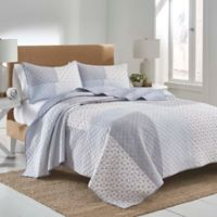 Tara Patchwork Reversible King Duvet Cover Set in Blue/White
