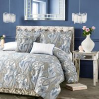 Tribeca Living Paisley Park Reversible Queen Duvet Cover Set in Grey/Blue