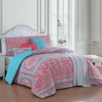 Avondale Manor Cass 7-Piece Reversible Queen Comforter Set in Coral