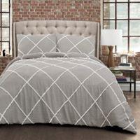 Lush Decor Diamond Pom Pom 3-Piece Full/Queen Comforter Set in Grey