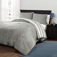 Plush Stripe Full/Queen Comforter Set in Grey