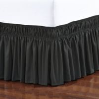 Elegant Comfort Wraparound Ruffle Full Bed Skirt in Black