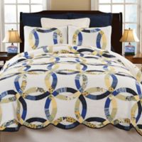 Provence Wedding Ring Reversible King Quilt Set in Blue