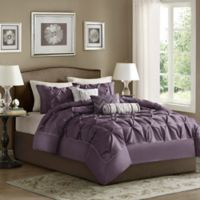 Madison Park Laurel 7-Piece Full Comforter Set in Plum