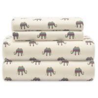 Elephant Print Microfiber King Sheet Set in Cream