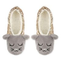 Capelli New York Women's Size M/L Sequin Cat Sherpa Slippers