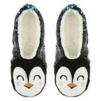 Capelli New York Women's Size M/L Sequin Penguin Sherpa Slippers