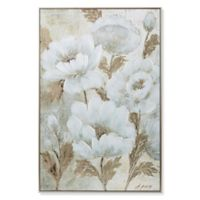 Elegant Florals Canvas Wall Art in White/Gold