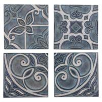 Zuo Modern Wall Décor Tiles In Blue Set Of 4
