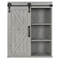 Kate And Laurel Storage Cabinet with Sliding Barn Door in Rustic Grey